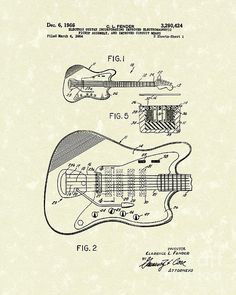 Fender Guitar 1966 Patent Art by Prior Art Design Fender Jaguar, Music Images, Patent Prints, New Print, Canvas Wall Art, Wall Art Prints, Drawings, Patent Drawing, Blue Prints