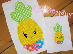 Pineapple With Flower Front Applique