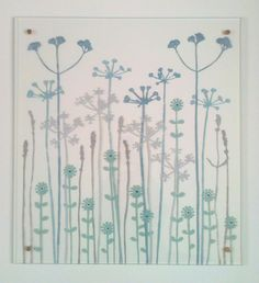 glass splashback 'botanical design'  in blues, greens and warm neutral colours by Josephine Gomersall designs