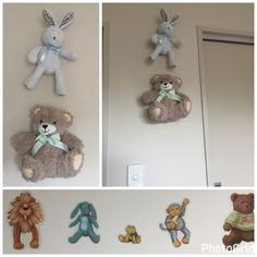 Using some of my sons many soft toys on the wall to match the wall decals! #softtoys #babyroomdecor