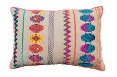 Colorful bohemian style linen pillow cover, embroidered moroccan pillow case