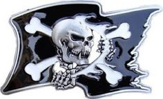 SKULL with Bones PIRATE FLAG Belt Buckle goth belt buckle