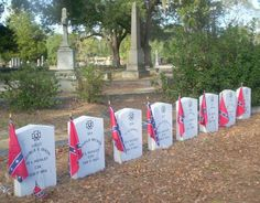 Graves of the last 8 man crew of the Hunley.  Magnolia Cemetery, Charleston, SC