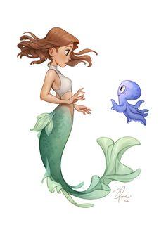 Hello =), Giselle Ukardi on ArtStation Art Drawings Sketches, Disney Drawings, Cute Drawings, Mermaid Artwork, Mermaid Drawings, Mermaid Paintings, Pretty Art, Cute Art, Character Inspiration