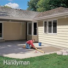 Fill low spots when you build a patio with ceramic tile. ANd LEVEL the concrete