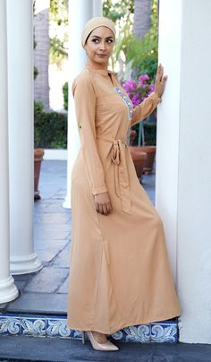 Fast shipping and 30 day returns on ChicIslamic Abaya Long Dresses, Maxi Dresses, Jilbabs, Caftans, Modest Dresses. Beige Maxi Dresses, Modest Dresses, Formal Dresses, Long Dresses, Muslim Fashion, Hijab Fashion, Muslim Dress, Turban Style, Islamic Clothing