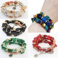 Rhinestone Bangles Gold Filled Resin Agate Bracelets Multilayer Beads Chain | eBay