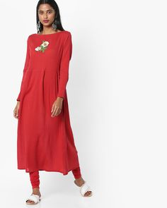 7bc8f48b90e Buy AJIO Women Red Embroidered Flared Kurta with Back Tie-Up | AJIO Tied Up