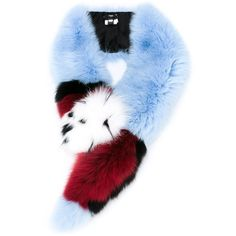 Fendi colour block fur stole (€1.805) ❤ liked on Polyvore featuring accessories, scarves, blue, fur scarves, fur stole, fox fur shawl, colorful scarves and fox fur stole