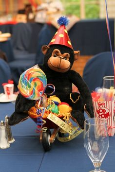 Monkey centerpiece circus themed baby shower