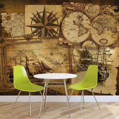 WALL MURAL PHOTO WALLPAPER XXL Vintage Ships and Maps (2531WS)