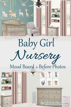 Baby Girl Nursery Mood Board + Before Photos - Operation: Nursery is in full effect! Today, I'm sharing with you my plans for this baby girl nur - Home Decor Bedroom, Nursery Decor, Living Room Decor, Bedroom Ideas, Girl Nursery, Nursery Room, Cheap Home Decor, Vintage Home Decor, Home Goods