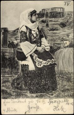 Old Postcard, Greece, Woman in Costume, postmarked 1903