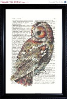 Dictionary art print Christmas gift idea for her for him... BUY 2 PRINTS AND GET 1 PRINT FREE Offer you a wonderful OWL print on a unique