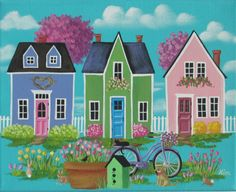 Terrier and Tulips ORIGINAL Folk Art Painting by KimsCottageArt