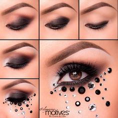 """@elymarino using Motives Beauty Weapon Palette!   1.Start By rimming the eyes with Motives By Lala Khol eyeliner in Black, slightly smudging it out  2.Using """"Smoke"""" apply over top of the entire lid, leaving the inner part bare  3.Take """"Plum"""" and apply it in the crease and slightly above  4.Take """"Angel"""" Khol eyeliner and apply it in the inner tear duct to give a nice base for our next shadow which is """"Fab"""" pat over top and slightl... Khol Eyeliner, Eyeshadow, Jewel Makeup, Halloween Makeup, Halloween Costumes, Stunning Makeup, Eye Art, Pretty Eyes, Hair And Nails"""