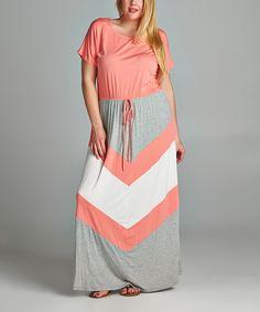 Tua Plus Coral & Gray Chevron Maxi Dress - Plus by Tua Plus #zulily #zulilyfinds