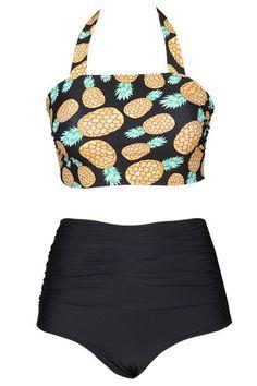 After Forever Pineapple High-waisted Bikini Set - Cloth Fix