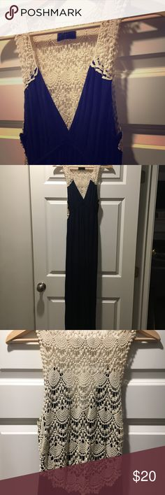Gorgeous Jersey Maxi Dress w/crochet detail 🦋 So beautiful, soft and comfy!  Navy Blue Jersey Dress by Aqua, purchased at Bloomingdales in Soho.  Gorgeous crochet detail.  Lovingly worn and enjoyed so there is some pilling. Aqua Dresses Maxi