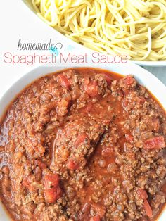 Ditch the canned spaghetti sauce for this flavorful, beefy, homemade spaghetti meat sauce. Takes a few minutes to prepare and let it simmer on the stove. Homemade Spaghetti Meat Sauce, Sausage Spaghetti, Homemade Sauce, Spaghetti Recipes, Pasta Recipes, Dinner Recipes, Cooking Recipes, Healthy Recipes, Spaghetti Sauce Recipe Without Tomato Paste