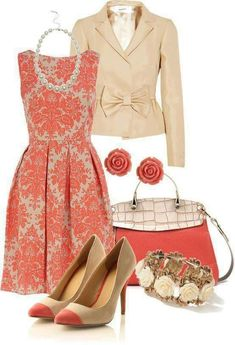 Fashion Style Combination - Peach and Beige in a traditional fashion style.