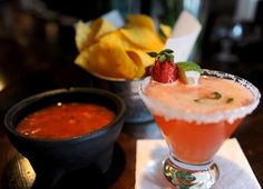 A Strawberry, Jalapeno Margarita and chips and Salsa are served at Mesa, a modern Mexican restaurant that is located at 42 S. Third Street in Easton.