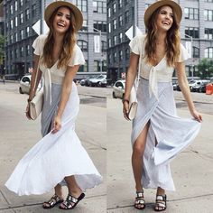 Stripped maxi skirt with split Style Outfits, Fashion Outfits, Christine Fashion, Stripped Maxi Skirts, Hot Summer Outfits, Effortlessly Chic Outfits, Style Guides, Spring Fashion, Fashion Beauty