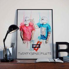 Twenty One Pilots 21 pilots poster illustration limited edition watercolor copy de ADAARTillustrations en Etsy