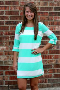 Mint Stripe Shift Dress