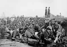 Soldiers of the VI Corps, Army of the Potomac, in trenches before storming Marye's Heights at the Second Battle of Fredericksburg during the Chancellorsville campaign, Virginia, May 1863.
