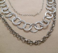 Triple Strand Silver Plated Chain and Quartz by ByEJewelry on Etsy, $61.00