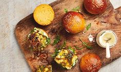 Sliders, or mini-burgers, are all the rage these days, but there's no law that says you have to fill them with meat: sweet potato rolls, fish sliders, and cauliflower sliders with fried onions and creme fraiche.