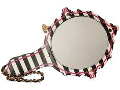 Betsey Johnson Hey Good Lookin or 'Kitsch Mirror Mirror' Wristlet is another girly gift that is perfect for any occasion! It's shaped like a hand mirror! Perfect for teenagers & fashionistas! Super cute! Novelty Handbag with black and white stripes and pink stitching! Fully functional mirror and kiss print! At a discount! #Betsey_Johnson #mirror #wristlet #clutch