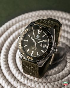 The new TAG Heuer Aquaracer Khaki summarizes what any adventure seeker would expect from their watch: precision, accuracy and style. #DontCrackUnderPressure #TAGHeuerAquaracer #Khaki
