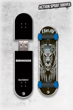 Birdhouse / Tony Hawk SkateDrive : Hawk Skull USB Flash Drive // Action Sport Drives have teamed up with the best skateboard companies in the industry to create the original USB Flash Drive skateboard. We've combined this innovative design with the graphics from actual Birdhouse skateboards like their Hawk Skull Model.    Now you can get your favorite skateboard graphics, and transfer files in style.