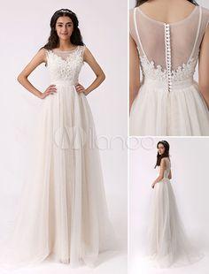 Vestido de novia de tul con escote transparente - Milanoo.com