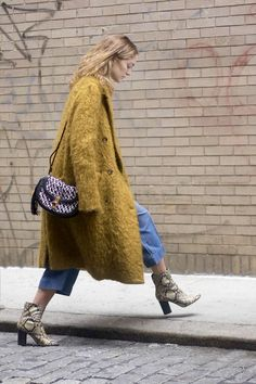 Yellow mohair coat