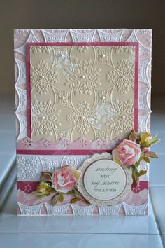 Aly Dosdall: anna griffin cuttlebug embossing folders, part 1 Anna Griffin Inc, Anna Griffin Cards, Hand Made Greeting Cards, Greeting Cards Handmade, Thanks Card, Embossed Cards, Paper Cards, Diy Cards, Scrapbooking