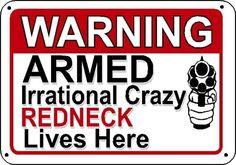 Warning Armed Crazy Redneck Gun Security Humor 3 Sizes Man Cave Novelty Sign | eBay