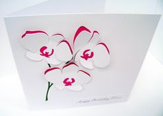 Orchid Card - Paper Cut Flowers - Personalised Birthday Card - Thank You - Mother's Day - Greeting Card For Her, Mum, Mom, Wife, Girlfriend