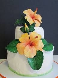 Image result for fondant tropical flower wedding cakes