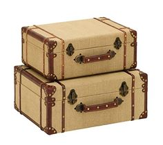 Functional and attractive, the DecMode Burlap Covered Wood Trunks - Set of 2 adds vintage-inspired appeal to your décor. Covered in burlap, the faux leather trim adds a nice contrast. Store blankets, books, and more inside. Vintage Trunks, Vintage Suitcases, Vintage Luggage, Vintage Travel, Vintage Suitcase Table, Kelly Wearstler, Plywood Furniture, Kids Furniture, Modern Furniture