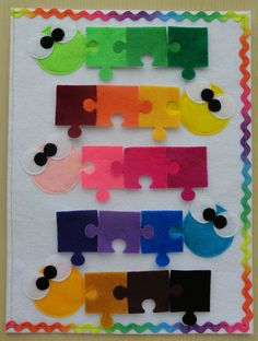 fun quiet book page for creating color families.