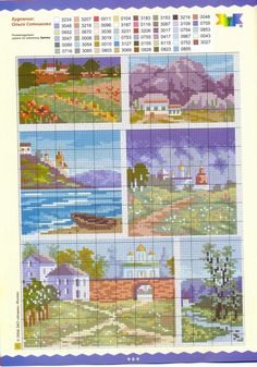 More miniature landscape patterns / charts for cross stitch, crochet, knitting, knotting, beading, weaving, pixel art, micro macrame, and other crafting projects.
