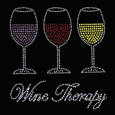 Rhinestone Wine Therapy TShirt  Bling Shirt by DesignsbyDaffy, $22.95