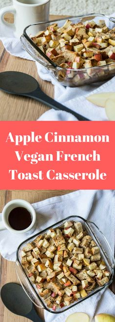 Apple Cinnamon Vegan French Toast Casserole If you're looking for the perfect vegan baked french toast casserole, the search is over! Apples and cinnamon make for an easy vegan french toast casserole. Gluten Free French Toast, Healthy French Toast, Apple French Toast, Cinnamon Roll French Toast, French Toast Bake, Breakfast Casserole French Toast, Brunch Casserole, Casserole Recipes, Vegan Casserole
