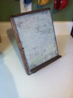 iPad stand kitchen cook book holder rustic kitchen by PineNsign, $38.00