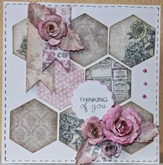 Want great helpful hints on arts and crafts? Head out to this fantastic info! Card Making Inspiration, Making Ideas, Patchwork Cards, Hexagon Cards, Craftwork Cards, Sewing Cards, Shabby Chic Cards, Engagement Cards, Get Well Cards