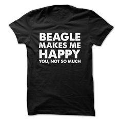Beagle Makes Me Happy T-Shirts, Hoodies. SHOPPING NOW ==► https://www.sunfrog.com/Funny/Beagle-Makes-Me-Happy-Black-48265484-Guys.html?id=41382