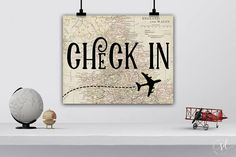 Check In Sign Travel Airplanes Birthday Party Sign Around